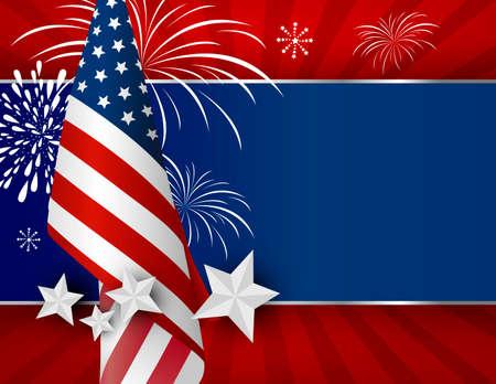 Diseño del fondo de los EEUU de la bandera americana para el día de la independencia del 4 de julio u otra celebración Ilustración de vector