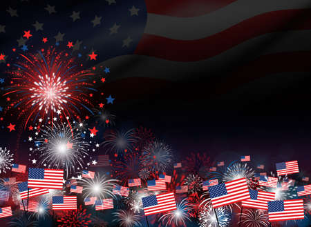 Fireworks with american flag background design for 4 july independence day or other celebration