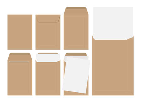 Vector set of blank brown envelopes with paper isolated on white background Illustration
