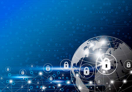 Vector business concept of global network security design on digital technology background with copy space.