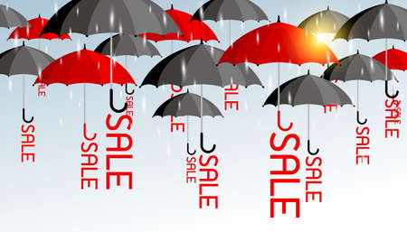 Vector business concept of red and black umbrella with sale background for rainy season