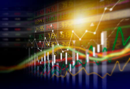 Business concept of stock market graph background design Stock Photo