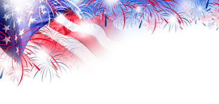 USA flag with fireworks background for 4 july independence day Reklamní fotografie