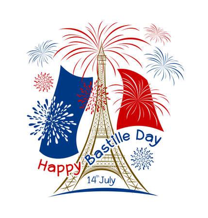 Vector 14 july bastille day paris design with firework and france flag on white background Illustration