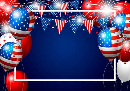 Vector de ballonontwerp van de VS van Amerikaanse vlag met vuurwerk op blauwe achtergrond voor 4 juli onafhankelijkheidsdag of andere viering