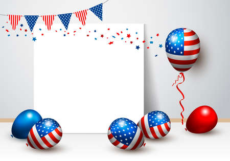 Vector USA balloon and blank frame design of american flag for 4 july independence day or other celebration