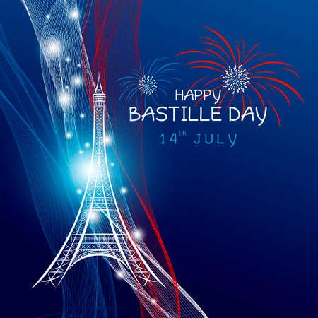 Vector 14 juli bastille dag parijs ontwerp met vuurwerk van eiffeltoren en Frankrijk vlag op blauwe achtergrond