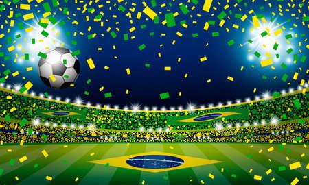 Vectorvoetbalbal in het stadion van Brazilië met licht Stock Illustratie