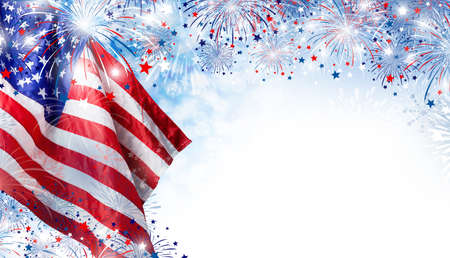 USA flag with fireworks background for 4 july independence day Stok Fotoğraf