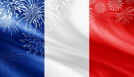 France flag with fireworks background for 14 july bastille day
