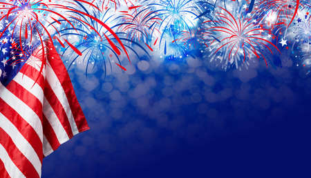 USA flag with fireworks background for 4 july independence day Banco de Imagens