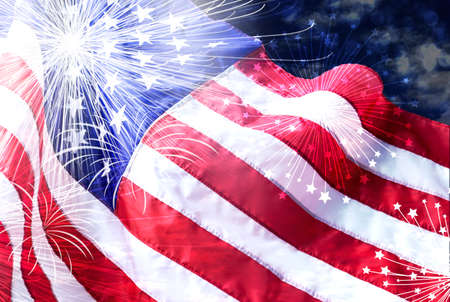 America flag with firework background for USA 4 july independence day