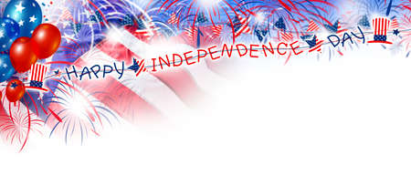 USA 4 July Happy independence day design of America flag and balloon with firework on white background
