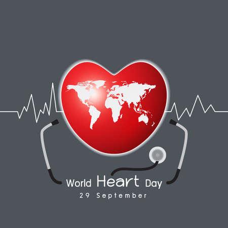 Vector 29 september world heart day concept design on gray background Illustration