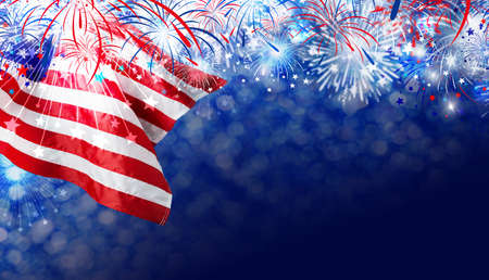 USA flag with firework background for 4 july independence day