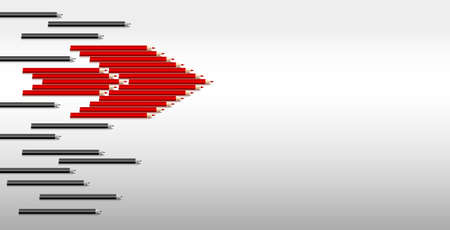 onderwijs: Vector leadership concept of red pencil in group of black pencil Stock Illustratie