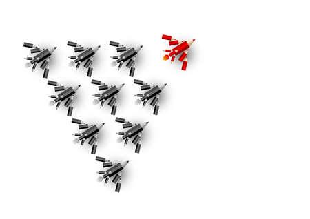 principal: Concepto de liderazgo de vector de avión lápiz