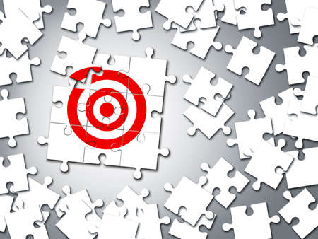 Target business concept of jigsaw puzzle