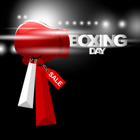 Boxing day sale concept design of boxing gloves holding shopping bag with light