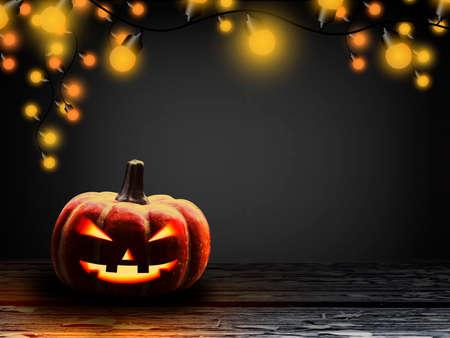lamplight: Halloween pumpkin with light bulb at night