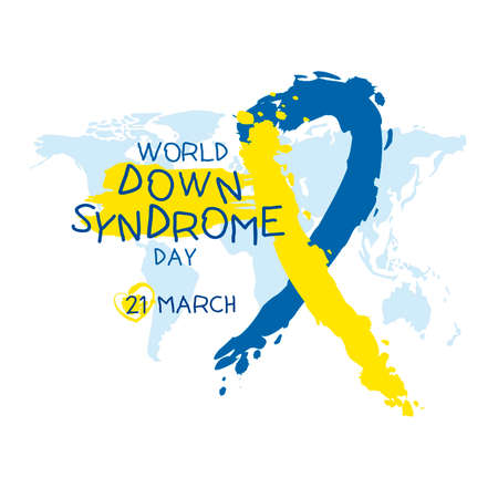 World down syndrome day on a plain background.