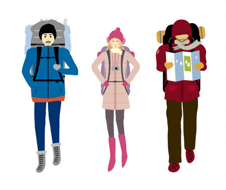 Backpacker isolated on white background vector illustration.