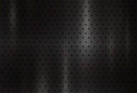 Modern black metal texture background with polka dots vector illustration