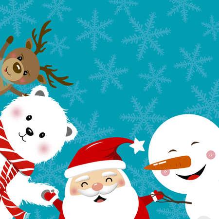 Christmas concept design of santa claus reindeer snowman and white bear with copy space vector illustration Ilustração