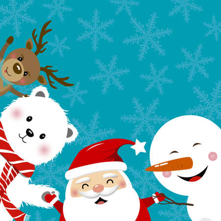 Christmas concept design of santa claus reindeer snowman and white bear with copy space vector illustration Illustration
