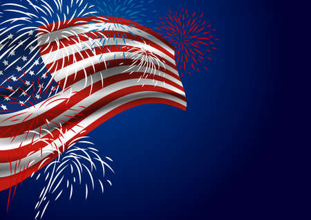 USA flag with fireworks at night Illustration