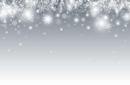 冬のベクターイラストで松の葉のクリスマスの背景デザイン。