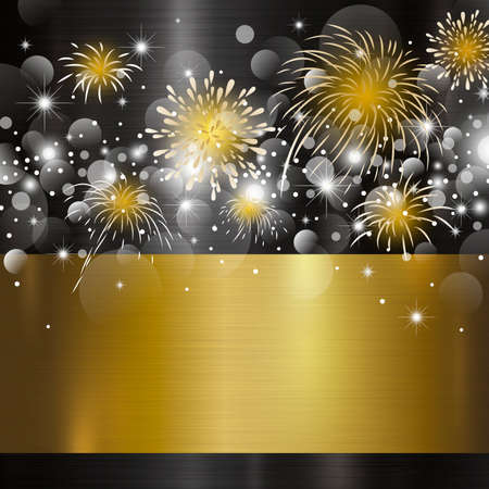 Happy new year design on metal background vector illustration 免版税图像 - 90065243