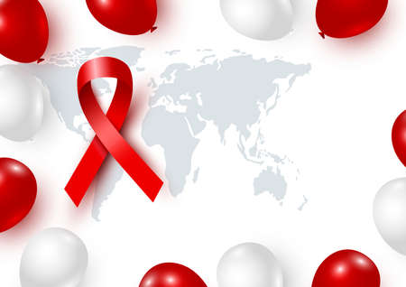 World aids day design of red ribbon and world with balloon on white background vector illustration