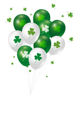 St Patricks day background design of clover leaves and balloon with copy space vector illustration Illustration