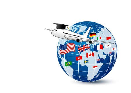 Study abroad concept design of airplane and world education with national flag on white background vector illustration Stok Fotoğraf - 91245777