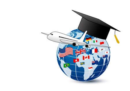 Bestudeer in het buitenland conceptontwerp van vliegtuig en wereldonderwijs met nationale vlag op witte vectorillustratie als achtergrond