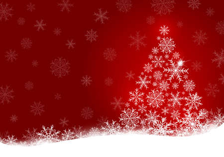 Christmas tree design of snowflake on red background with copy space vector illustration
