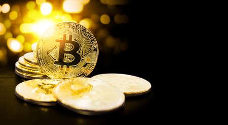 Bitcoin en bokehlicht met exemplaarruimte