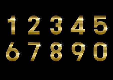 Gold metal number on black background vector illustration