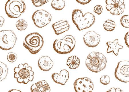 Hand drawn cookies pattern seamless design  イラスト・ベクター素材