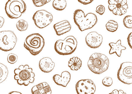 Hand drawn cookies pattern seamless design Stock Illustratie