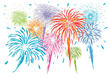 Colorful fireworks isolated on white background vector illustration  イラスト・ベクター素材