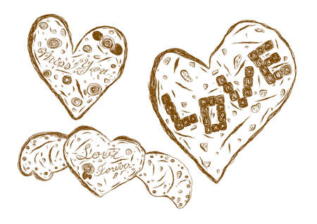 Cookies heart shape sketch isolated on white background vector illustration