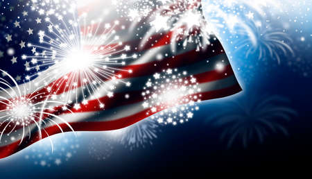 USA or America flag with fireworks design at night Independence day illustration