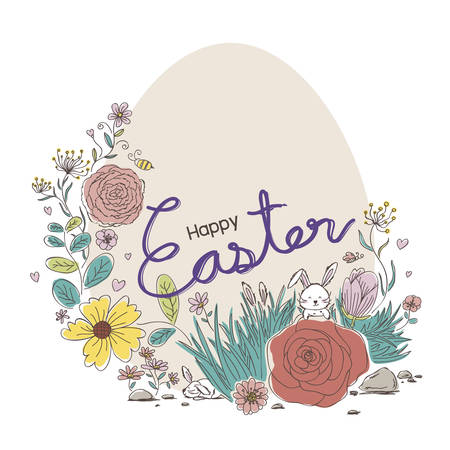 Happy Easter design of flowers and rabbit in the garden Illustration