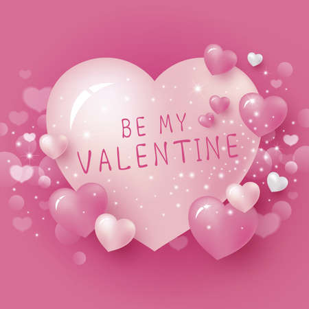 Be my valentine design of pink heart background vector illustration