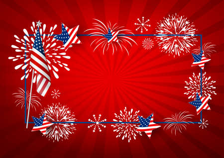 USA background design of america flag and fireworks with line frame vector illustration