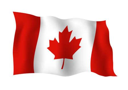 Een vlag van Canada op witte vectorillustratie wordt geïsoleerd die als achtergrond Stock Illustratie