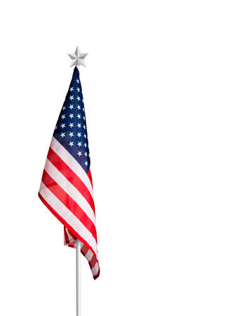 USA or America flag isolated on white background with clipping path