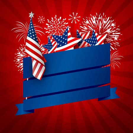USA banner design of america flag and fireworks with blank blue ribbon on red background vector illustration
